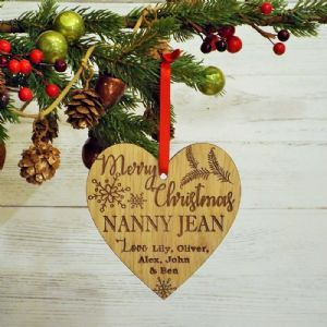 Personalised Christmas Heart Bauble Decoration Gift for Nanny, Auntie, Friend